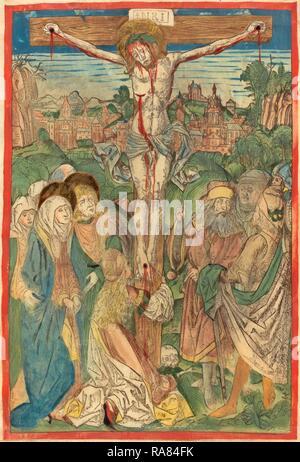 Attribuito a Michael Wolgemut (tedesco, 1434 - 1519), la Crocifissione con Santa Maria Maddalena, c. 1490, mano- reinventato Foto Stock