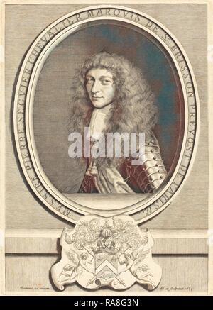 Robert Nanteuil (francese, 1623 - 1678), Pierre Seguier, Marchese de Saint-Brisson, incisione. Reinventato