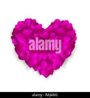 Grande cuore viola fatta di piccoli cuori isolati su sfondo bianco, simbolo dell'amore, la fedeltà e la gentilezza, l'elemento per il giorno di san valentino o nozze salutare Foto Stock