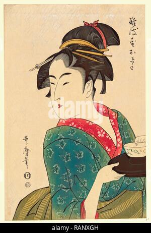 Naniwaya Okita, Okita di Naniwa-Ya. [1793, stampato in seguito], 1 Stampa: xilografia, colore., stampa mostra Naniwaya Okita, un reinventato Foto Stock