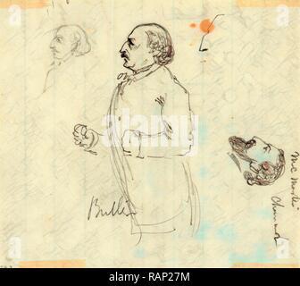 Benjamin Butler, tra il 1860 e il 1865, disegno su bianco carta rigata matita, 13.0 x 11.3 cm. (Foglio), 1862-1865, da reinventato Foto Stock