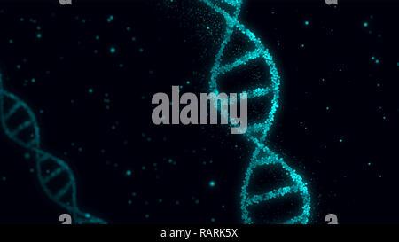Elica di DNA molecole abstract 3D'illustrazione. La biotecnologia, la genetica e il concetto di scienza. Nuova tecnologia dello sfondo. Foto Stock