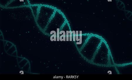 DNA molecole a spirale abstract 3D'illustrazione. La biotecnologia, della genetica e della biologia del concetto. Nuova tecnologia dello sfondo. Foto Stock