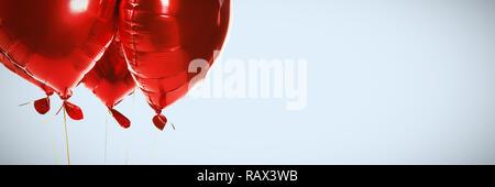 Immagine composita del cuore rosso palloncini di forma Foto Stock