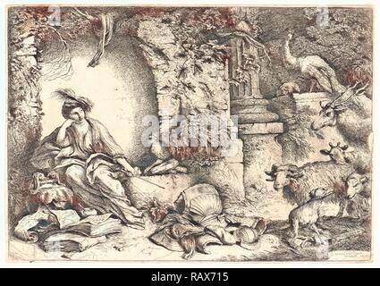 Giovanni Benedetto Castiglione (italiano, 1609 - 1664). Melanconia (Circe), del XVII secolo. Attacco chimico. . Reinventato Foto Stock
