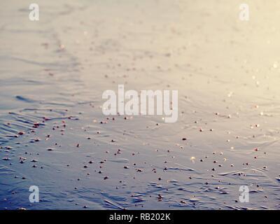 Abstract la superficie del lago ghiacciato. Aria congelate in ghiaccio artico. Colorate pezzo di ghiaccio con raggi di sole riflessioni. Foto Stock