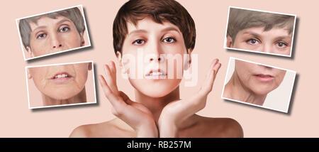 Anti-invecchiamento, un trattamento di bellezza, invecchiamento e la gioventù, sollevamento, skincare, chirurgia plastica concetto. Foto Stock