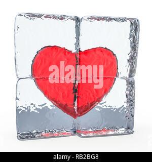 Cuore rosso congelate in ghiaccio. Il rendering 3D Foto Stock