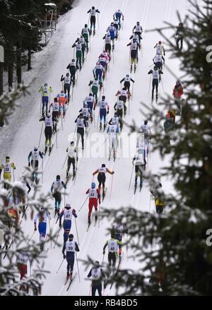 Morave, Repubblica Ceca. 06 gen 2019. Gli uomini sono 20 km mass start gara entro l'OPA sci di fondo coppa Europea 2019 a Nove Mesto na Morave, nella Repubblica Ceca il 6 gennaio 2019. (CTK foto/Lubos Pavlicek) Credito: CTK/Alamy Live News Foto Stock
