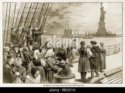 Gli immigrati in arrivo a New York City, 1887 Foto Stock