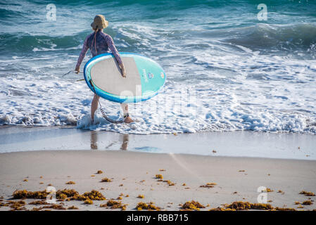 Femmina-stand up paddle boarder inserendo l'oceano a Palm Beach, Florida. Foto Stock