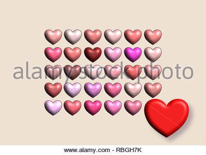 Felice il giorno di San Valentino, 3D cuore icone, colori pastello, cuore rosso, amore, pattern per biglietto di auguri, compleanno, matrimoni, la carta di avvolgimento, gift voucher, Foto Stock