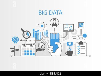 Grande concetto di dati con mano azienda cornice moderna gratuita smart phone Foto Stock