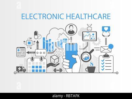 Sanità elettronica concetto con mano azienda cornice moderna gratuita smart phone Foto Stock