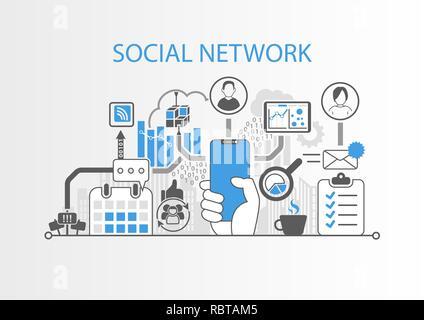 Rete sociale concetto con mano azienda cornice moderna gratuita smart phone Foto Stock