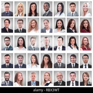 Collage di ritratti di successo i giovani imprenditori Foto Stock
