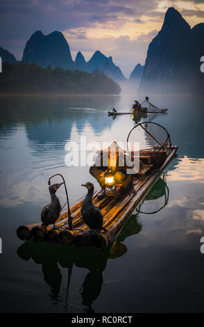 Cormorano pescatore e i suoi uccelli sul fiume Li in Yangshuo, Guangxi, Cina