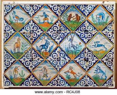 Le piastrelle di ceramica con animali e figure umane posizione