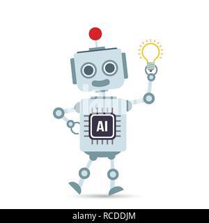 AI intelligenza artificiale robot tecnologia cartoon holding lampadina di elemento di design illustrazione vettoriale EPS10 Foto Stock