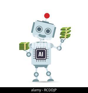 AI intelligenza artificiale robot tecnologia cartoon detenere fondi elemento di design illustrazione vettoriale EPS10 Foto Stock