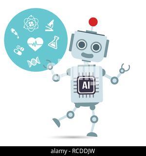 AI intelligenza artificiale robot tecnologia con elemento medico illustrazione vettoriale EPS10 Foto Stock