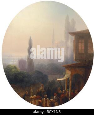 Una scena di mercato a Costantinopoli, con l'Hagia Sophia al di là. Museo: Collezione privata. Autore: AIVAZOVSKY Ivan Konstantinovich. Foto Stock