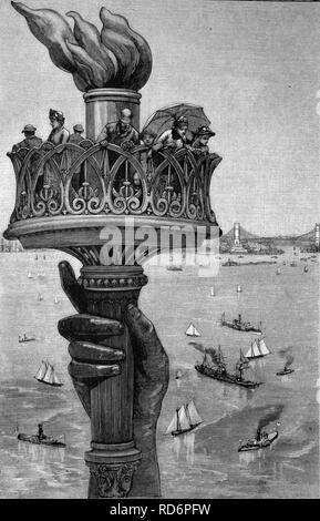 Fiaccola della Statua della Libertà di New York, Stati Uniti d'America, America, storico illustrazione, circa 1886 Foto Stock