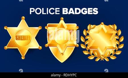 ... Stile fumetto · Sheriff Badge vettore. Golden Star. Icona di Officer.  Detective Insignia. Sevurity emblema b4a7f326a5e7