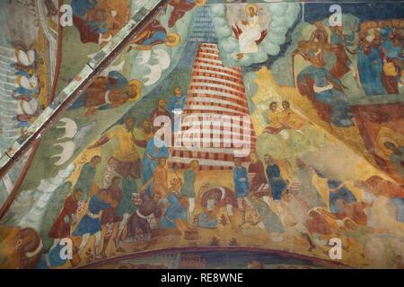 Torre di Babele rappresentato in affresco di icona russa pittori Gury Nikitin e Sila Savin (1680) nella galleria occidentale (papert) della Chiesa di Elia Profeta in Yaroslavl, Russia. Foto Stock