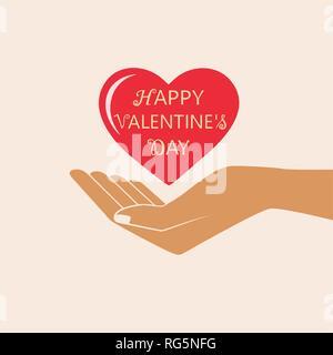 Canto dare amore simbolo. Felice giorno di San Valentino scheda di vettore. Vettore isolato illustrazione. Foto Stock