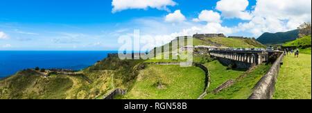 Caraibi, Piccole Antille, Saint Kitts e Nevis, Basseterre, Brimstone Hill Fortress Foto Stock
