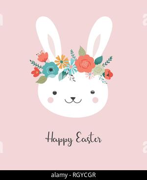 Felice Pasqua card - simpatico coniglietto con corona di fiori, illustrazione vettoriale Foto Stock