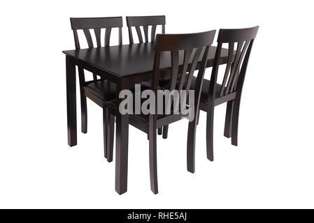 Sedie in pelle marrone scuro e tavolo in legno openplan for Sedie per sala da pranzo in pelle