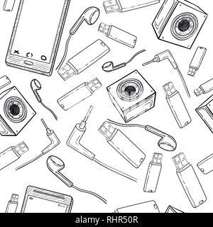 Set di disegnato a mano le icone di gadget con telefono, un game pad, tablet, PC, flash card, cuffie, orologi e altri Foto Stock
