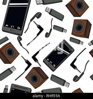 Modello senza giunture di gadget elettronici le icone con il telefono, un game pad, tablet, PC, flash card, cuffie, orologi e altri Foto Stock