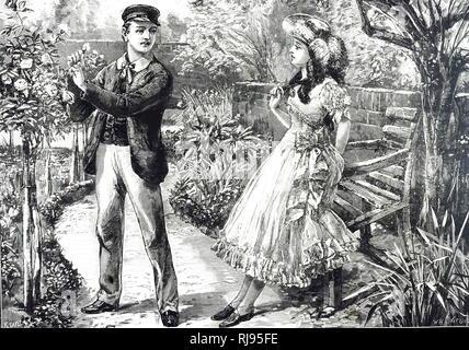 Una incisione raffigurante una gioventù spiumatura una rosa per dare al suo amore. Datata del XIX secolo Foto Stock