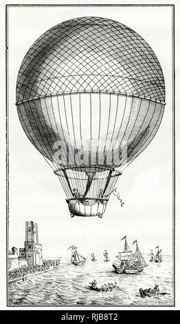 Blanchard e Jeffries attraversando il canale in inglese in un palloncino, 7 gennaio 1785 -- centesimo anniversario commemorazione. Foto Stock