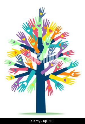 Illustrazione di varie mani con cuore di stampe formando una struttura ad albero. Organizzazione di beneficenza Foto Stock
