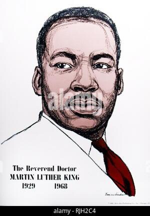Disegno di Martin Luther King Jr. un americano ministro battista e attivista che divenne il più visibile portavoce e leader del movimento per i diritti civili dal 1954 fino alla sua morte nel 1968 Foto Stock