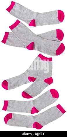 Rosa e grigio calze isolati su sfondo bianco Foto Stock