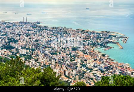 Vista aerea di Jounieh in Libano Foto Stock