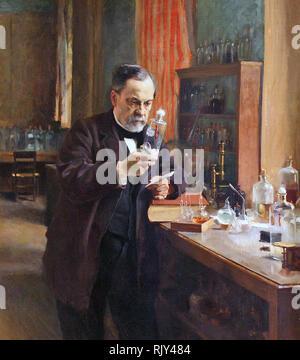 LOUIS PASTEUR (1822-1895) biologo francese e farmacia nel suo laboratorio dipinta da Alfred Edelfelt nel 1885 Foto Stock