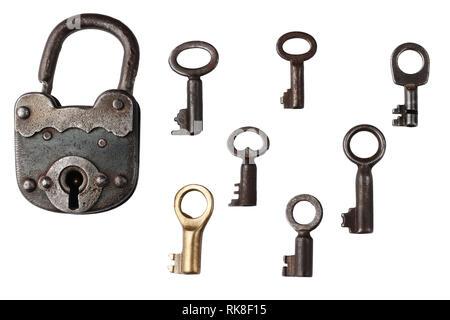 Antica chiave vintage su sfondo bianco Foto Stock