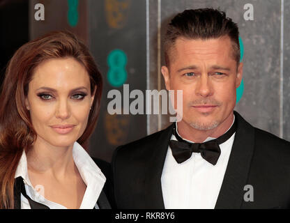 Angelina Jolie e Brad Pitt arrivano al 2014 British Academy Film Awards (BAFTA) presso la Royal Opera House Covent Garden Foto Stock