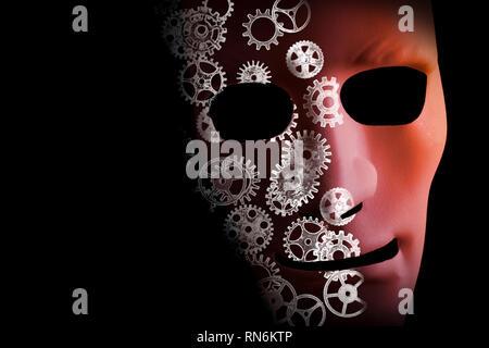 Intelligenza artificiale la progettazione concettuale di una maschera per il viso e denti su uno sfondo nero. Foto Stock