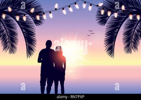 Matura in amore romantico silhouette giorno su Paradise beach illustrazione vettoriale EPS10