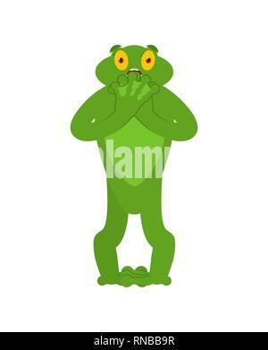Frog paura OMG emozione. Toad Oh mio Dio gli Emoji. Anuran spaventati. Illustrazione Vettoriale Foto Stock