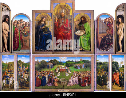 La Pala di Gand aperto, Jan Van Eyck, Hubert Van Eyck 1430 - 1432, la pittura Foto Stock