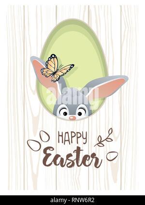 Felice Pasqua. Simpatico biglietto di auguri con il Coniglio di Pasqua e butterfly. Illustrazione Vettoriale. Foto Stock