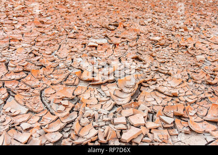 Grandi lastre di sole-essiccati lettiera di argilla del pavimento del cratere Ubehebe nel Parco Nazionale della Valle della Morte